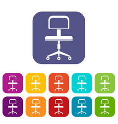 Office a chair with wheels icons set flat vector