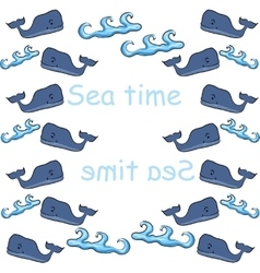 old print with whales and waves in blue tones vector image