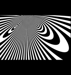 Op art distorted perspective black and white vector