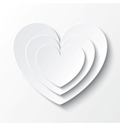Paper heart Valentines day card on white vector image