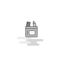 pencil box web icon flat line filled gray icon vector image