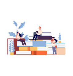 people reading books men women studying textbook vector image