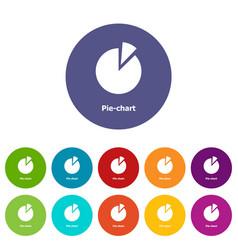 Pie chart icons set color vector