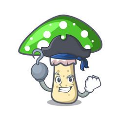 Pirate green amanita mushroom character cartoon vector