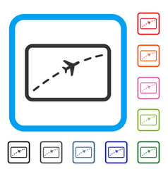 plane route framed icon vector image