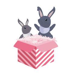 Rabbits gift box happy easter vector