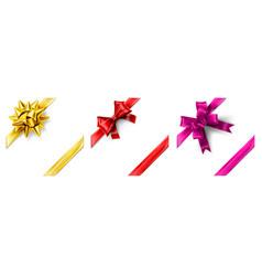 realistic ribbon bow corner gift decoration 3d vector image