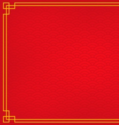 Red chinese background with yellow gold border vector
