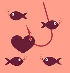 Red heart symbol on fishing hook idea - love vector