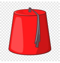 Red turkish fez icon cartoon style vector