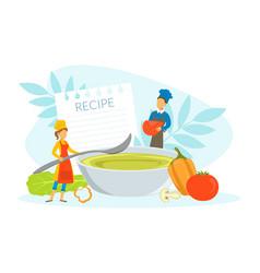 Restaurant team cooking healthy vegetarian dish vector