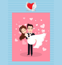 romantic holiday postcard groom and bride vector image