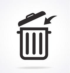 rubbish bin trash can garbage icon vector image