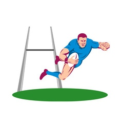 Rugby player diving to score a try vector
