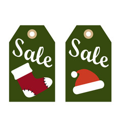 Sale promo labels red sock and santa claus hat vector