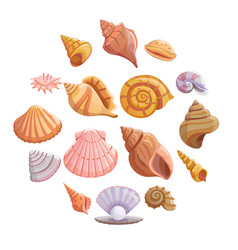 Sea shell beach icons set cartoon style vector