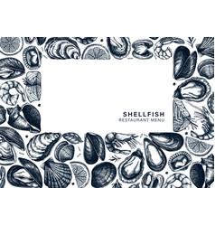 seafood a 4 menu design hand drawn fish shellfish vector image