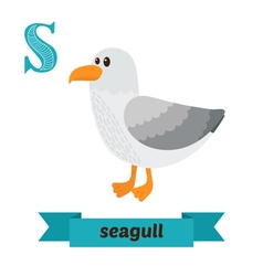 Seagull S letter Cute children animal alphabet in vector image