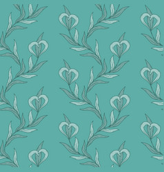 seamless floral pattern in blue tones vector image