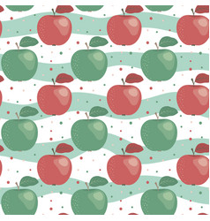 seamless pattern with red and green apple in flat vector image