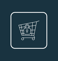 Secure shopping icon line symbol premium quality vector