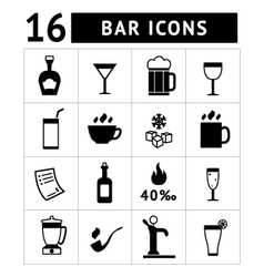 set bar drinks and beverages icons vector image