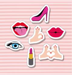 Set elements classic sticker set on pop art pink vector