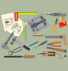 Set of hand tools for productive work vector