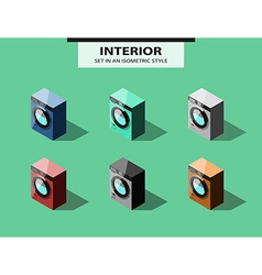 Set of washing machines in isometric style vector image