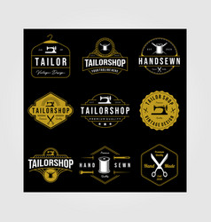 set vintage tailor shop sewn logo on dark vector image