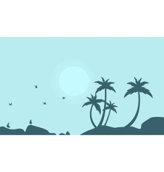 Silhouette of seabird and palm scenery vector