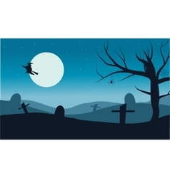 Silhouette of witch flying in tomb vector