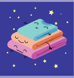 Smiling cute stack of colored clothes habituate vector