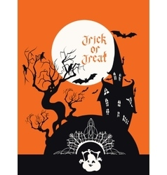 Spooky House Trick Or Treat card design vector