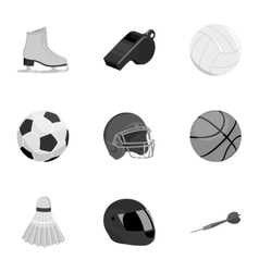Sport and fitness set icons in monochrome style vector image