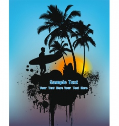 Surfer on sunset vector