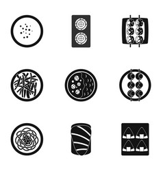 Sushi menu icons set simple style vector