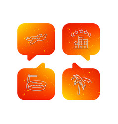 swimming pool airplane and palm tree icons vector image