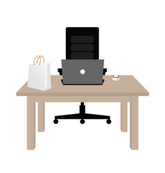 table wooden office vector image