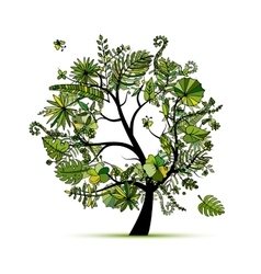 Tropical tree concept sketch for your design vector image