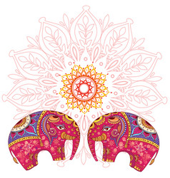 Two elephants over mandala pattern vector