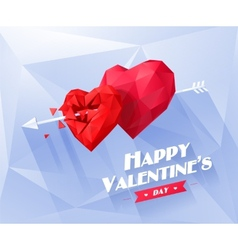 Two red origami heart on white background with vector image