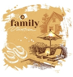 Vintage hand drawn sketch family vacation vector image