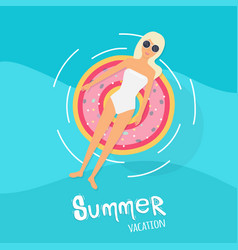 Woman in swim suit lying on floating swimming vector