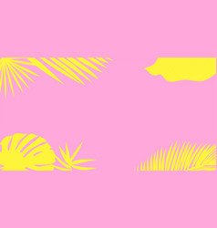 Yellow palm leaves silhouette on a pink background vector