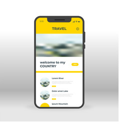 yellow travel ui ux gui screen for mobile apps vector image