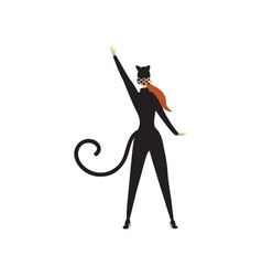 young woman in black cat costume posing with hand vector image