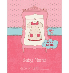 baby girl arrival card with place for your text in vector image vector image