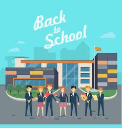 back to school teacher with pupils on school yard vector image vector image