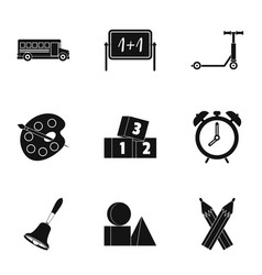 Education icons set simple style vector